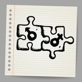 Doodle puzzles with gender symbols Royalty Free Stock Photo
