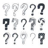 Doodle question marks. Hand drawn interrogation query symbols vector set Stock Photo