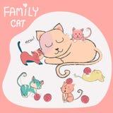 Doodle ręka rysującego ślicznego kota z dziecko rodziną ilustracja wektor