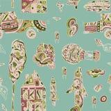 Doodle ręka rysujący grodzki bezszwowy wzór Pastelowa Abstrakcjonistyczna tapeta Wektorowa ilustracja dla twój ślicznego projekta Zdjęcie Royalty Free