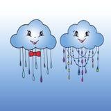 Doodle ręka Rysujący wektor Mr Bayard Rozcięcie i Mrs chmura Ilustracji