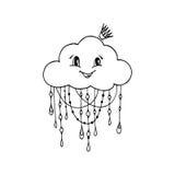 Doodle ręka Rysujący wektor Mrs chmura Ilustracji
