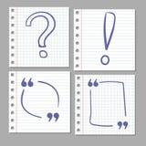 Doodle ręka rysujący znaki na notatnik stronie Fotografia Stock