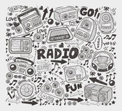 Doodle radio elements Royalty Free Stock Image