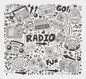Doodle radio elements Royalty Free Stock Image