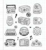 Doodle radio icons Stock Photography