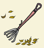 Doodle rake and autumn leaves Stock Images
