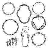Doodle rama z sercami i roczników kwiatami royalty ilustracja