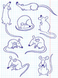 Doodle rat. ( or mouse) set Royalty Free Stock Photos