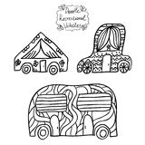 Doodle recreational vehicles Stock Photography