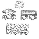 Doodle recreational vehicles-2 Royalty Free Stock Image