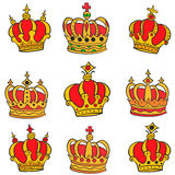 Doodle of red crown style collection Royalty Free Stock Photography