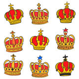 Doodle red crown style various collection Royalty Free Stock Photo