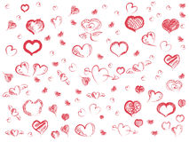 Doodle red hearts seamless pattern background Royalty Free Stock Image