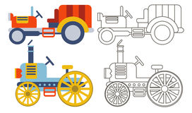 Doodle retro agricultural tractors . Stock Images