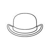Doodle of retro bowler hat front view. Vector illustration. Hand drawn doodle of retro bowler hat front view. Vintage elegant hat. Cartoon sketch. Decoration for Stock Photo