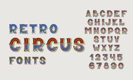 Doodle retro circus fonts and numbers alphabet design set Royalty Free Stock Photography