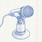 Doodle retro microphone Stock Photos