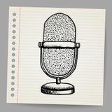 Doodle retro microphone Royalty Free Stock Photos