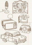 Doodle retro set. Illustration Royalty Free Stock Image