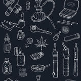 Doodle retro smoke seamless pattern with hookah, vape, cannabis and pipes. Royalty Free Stock Photos