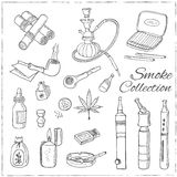 Doodle retro smoke set with hookah, vape, cannabis and pipes. Royalty Free Stock Photo
