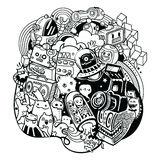 Doodle robots, doodle robot element, Royalty Free Stock Image