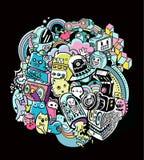 Doodle robots, doodle robot element, Stock Image