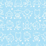 Doodle robots fun seamless pattern background Stock Image