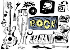 Doodle rock music Stock Image