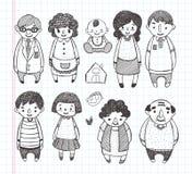 Doodle rodziny ikony Fotografia Royalty Free