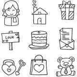 Doodle of romance love theme collection Royalty Free Stock Images