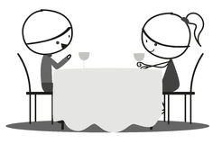 Doodle Romantic date. Couple doodle are in romantic date in black and white Stock Photos