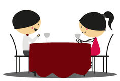 Doodle Romantic date - Full Color Stock Images