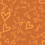 Doodle romantic seamless pattern with doodle love worlds and hearts.  Royalty Free Stock Photo