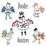 Doodle rooster birds vector set. Funny Cocks in hand drawn, sketch style,  design elements Royalty Free Stock Photo