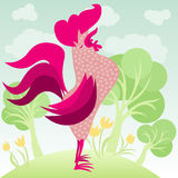 Doodle rooster in a garden Royalty Free Stock Image