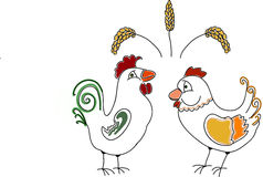 Doodle Rooster and hen Royalty Free Stock Image