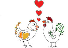 Doodle Rooster and hen with hearts Royalty Free Stock Photography