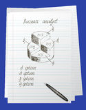 Doodle round chart. On a notebook sheet Royalty Free Stock Image
