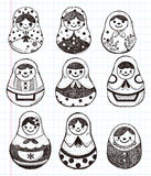 Doodle Russian Doll element icon set Royalty Free Stock Images