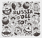 Doodle Russian Doll element icon set Stock Image