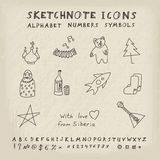Doodle Russian Icons. Alphabet and Symbols Set. Vector skethnote collection Stock Image