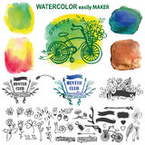 Doodle rustic set with watercolor stein.Logo maker Royalty Free Stock Photography
