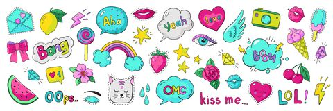 Doodle 90s stickers. Pop art fashion comic badges, trendy cartoon 80s kawaii icons. Vector lol rainbow cherry heart