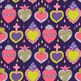 Doodle sacred heart  seamless pattern. Sacred heart  seamless pattern, Doodle illustration of hand drawn saint flaming heart isolated on the white background Royalty Free Stock Image