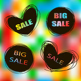 Doodle sale tags. Sale banners set Stock Images