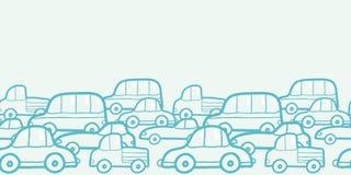 Doodle samochodów horyzontalny bezszwowy deseniowy tło Obraz Royalty Free