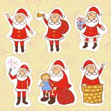 Doodle santa claus set Stock Image