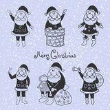 Doodle santa claus set Royalty Free Stock Photo